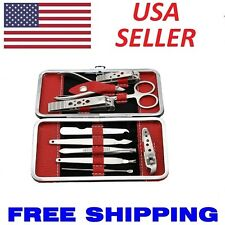 10PCS Pedicure Manicure Set Nail Clippers Cleaner Cuticle Grooming Kit Case