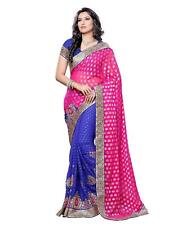 Embroidered Faux Crepe Saree with Blouse Piece, Designer Sari, Bollywood Saree