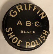 Griffin ABC Black Shoe Polish VTG Tin w/Twist Lever Open by Griffin Mfg. Co. N.Y