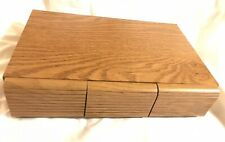 Vintage Faux Wood Grain 3 Drawer 36 Audio Cassette Tape Holder Storage Cabinet