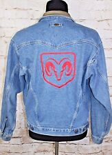Dodge Ram Rodeo Men's Small Blue Denim Trucker Jacket Leather Collar ID Wear S