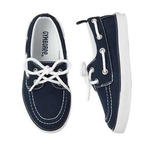 New Gymboree kid boy canvas boat shoes lace-up textured 10 navy white bow tie