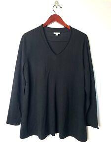 J.Jill Large L Merino Wool V-Neck Sweater Black Lightweight Long Sleeve