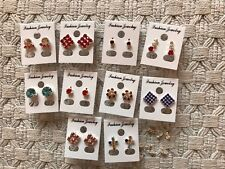 JOBLOT-10 pairs of different styles colour earrings studs.Silver plated.UK made.