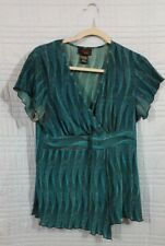 Clothing Co by Notations womens GREEN chevron Large short sleeve top #725