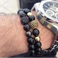 Charm High Quality 8mm Lava Matte Stone Beads Black CZ Ball Men Charm Bracelets