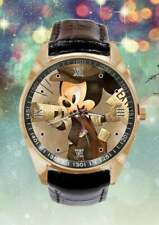 Disney Mickey Mouse Paper Boy Black Leather Band Wristwatch Watch Quartz Anolog