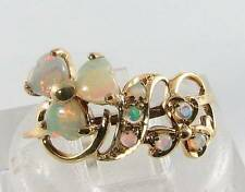 LUSH 9CT 9K GOLD  AUS OPAL FLOWER HEART CLUSTER ART DECO INS RING FREE RESIZE