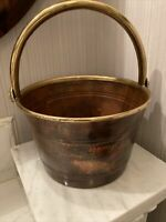 Vintage Hammered copper and brass handled bucket 9 Inches Around 6 Inches High