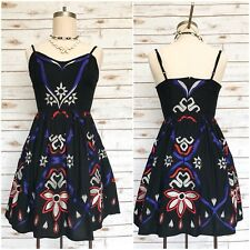 FREE PEOPLE Embroidered Floral Print Fit & Flare Dress Bohemian Lined Size 0