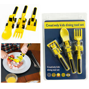 Dinneractive Eating Utensil Set for Kids – Construction Themed Fork and Spoon