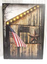 American Barn Lighted Canvas Wall Decor Sign