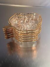 8 Small Crystal Leaf Plates with gilded edges