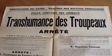 ancienne affiche arrêté préfectorale transhumance des troupeau dans le Gard 1957