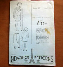 Childs BERET, LEGGINGS, COAT Size 2 Years Vintage Sewing Pattern Advance 910