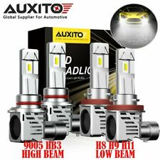 4x Combo AUXITO H11 9005 HB3 LED Headlight Bulb High Low Beam 24000LM 6500K