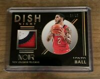 2020 PANINI NOIR LONZO BALL DISH NIGHT 3 COLOR PATCH RELIC SP /10 ~ PELICANS