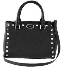 NWT MICHAEL KORS SAFFIANO LEATHER KELLEN STUDDED XS SATCHEL BAG IN BLACK SILVER