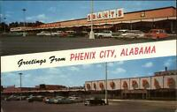 Phenix City AL Split View Stores Grants Woolworth's 1950s Postcard