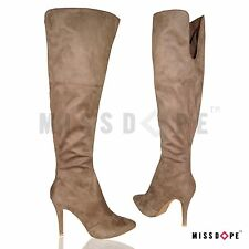 NEW KHAKI SUEDE STILETTO KNEE THIGH HIGH BOOTS WOMENS POINTED HEEL LADIES NUDE