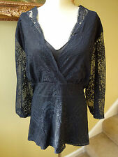 Lane Bryant Plus Size 26 28 Black Sheer Lace Blouse Top Elegant Evening Career