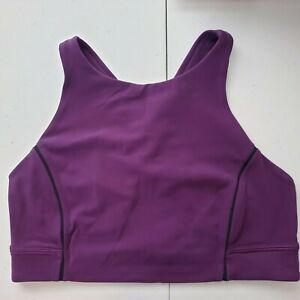Lululemon Womens High Neck Sports Bra Size 8 Nulu Fabric Purple Medium Support
