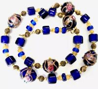 Vintage Wedding Cake Blue Glass Bead Necklace 21 Inches Long GIFT BOXED