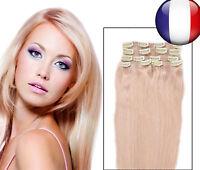 Long extensions de cheveux a clips 1/2 tête complète 40-60cm FR LA POSTE