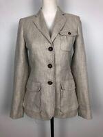 Massimo Dutti Ladies Linen/ Cotton Blazer Jacket Size S 36 Beige/ Cream