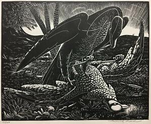 WOOD ENGRAVING Signed ~ BIRD OF PREY ~ Roderick Mead SURREALIST Woodcut