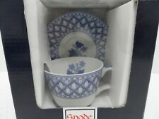 NEW SPODE BLUE ITALIAN GERANIUM TEA OR COFFEE CUP AND SAUCER - NWT