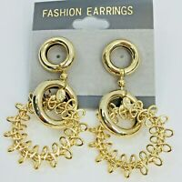 Vintage 80s Gold Tone Earrings Nautical Ring Dangle Circle Statement Pierced Ear