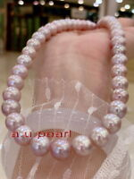 """AAAAA 18""""10-11MM REAL south sea lavender pink purple pearl necklace 14K gold"""