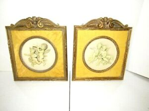 VTG Gold Gilt Wall Art Plaque 3D Cherub Angel PAIR
