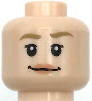 Lego New Light Flesh Minifigure Head Dual Sided Female Dark Tan Eyebrows Parts
