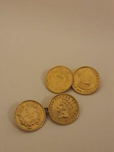 22ct Gold 1 Dollar Cufflinks 1887,1862, 1886 & 1857 Dates 7.7g