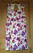 LAURA ASHLEY White Floral Print Pencil Dress with Triangular Cut Out on Back 16
