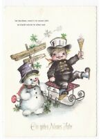 Card Vintage Chimney Sweep Slide Toasting Flutes Year Snowman Snow Mushroom