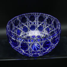"Faberge Cased Crystal Bowl 9"" Cobalt Blue to Clear"