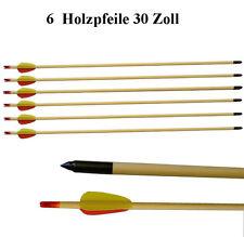 """6 Pfeile aus Holz 30"""" Zoll (ca.80cm) für Compound / Recurve Bogen - Bogensport"""