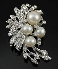Sale 1X Faux Pearl Rhinestone Diamante Brooch Pin Women Bouquet Party Jewelry
