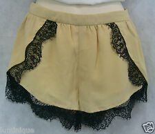 NEW Brown Lace Chiffon Shorts S 8 10 Black Party Club Mini Relax *ENGLISH ROSE*