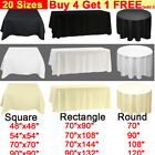 White Black Ivory POLYESTER TABLECLOTH Table Cover Cloth ROUND RECTANGLE Wedding