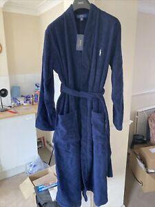Mens Polo Ralph Lauren Navy Blue Cotton Bathrobe Dressing Gown - S - New