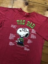Vintage 1971 Snoopy Peaunuts Dad Shirt Red Short Sleeve T-shirt Sz L Promo