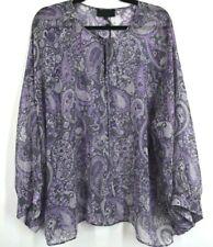 Nili Lotan Womens Acadia Paisley Silk Blouse Billowy Sleeves Tie Neck Purple L