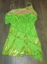 Green Fringe + Sequin Flapper Dance Costume 20s jazz dress Girls Youth Xl