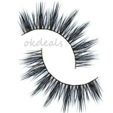1Pair 100% Real Mink Hair Black Thick Long False Fake Eye Lashes Eyelashes