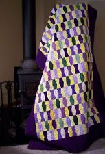 """Handmade Quilt for Sale - New - Purple Yellow Green 65"""" x 40"""" Throw Size"""
