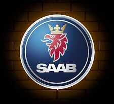 SAAB BADGE SIGN LED LIGHT BOX MAN CAVE GARAGE WORKSHOP GAMES ROOM BOY GIFT